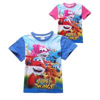 Wholesale Girls Wing Top Shorts - causal kids cartoon t-shirt lovely super cute wings cotton Summer tops t-shirt for 3-8yrs children boys girls shirt clothes hot