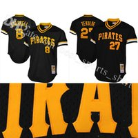 Baseball black kent - Mitchell Ness Pittsburgh Pirates Kent Tekulve Willie Stargell Cooperstown Collection mesh Practice Jersey Black