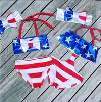 Wholesale Girls American Flag Bikinis - American Flag Baby Swimwear Set New stars printed tops+red stripe shorts+Bow headbands Independence Day Kids Swimsuit C1376