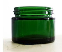 Wholesale silver cosmetic jars - 50g green glass jars wax container with black silver gold lid samll glass cosmetic jar unbreakable jar bho dab wax oil concentrate