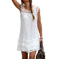 Wholesale Women Elegant Night Dresses - White lace dress 2018 Spring summer Elegant Solid Sleeveless Casual beach short Mini Dresses Lady Sexy plus size women clothing