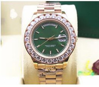 Wholesale round wrist watch big dial online - Luxury Christmas Gift k Rose Gold Big Diamond Bezel Day Date mm Mens Automatic Watch green Dial Men s Sport Wrist Watches