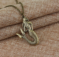 Wholesale Childrens Necklace Chain - Girl Necklace Mermaid Pattern Long Chain Girl Charm Necklace Jewelry Girls Jewelry Childrens Jewelry Mermaid Necklace Restoring Ancient Ways