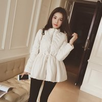 Wholesale Cotton Padded Long Skirt - The new Korean winter color self-cultivation padded Female Fashion Lace Waist fluffy skirt jacket