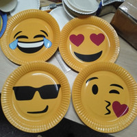 Wholesale Paper Dishes Wholesale - Icons Party Paper Plates Kids Children Fun Birthday Emoticon Emoji Dishes