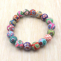 Wholesale Polymer Clay Bracelets - Fashion polymer clay bracelets free shipping, wholesale 20pcs Bohemian beaded bracelets, Kid's gift
