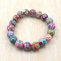 Wholesale Ceramic Bracelet Fashion - Fashion polymer clay bracelets free shipping, wholesale 20pcs Bohemian beaded bracelets, Kid's gift