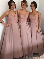 Wholesale Dress Ruffles Roses - New Rose Gold Ankle Length Bridesmaid Dresses V Neck Spaghetti Sequins Beaded Satin Wedding Party Gowns Modest Prom Evening Dresses