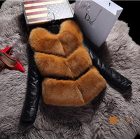 Wholesale Leather Jacket Ladies - 2017 New winter high fashion women's luxurious faux fur coat Patchword thick warm sheepskin leather jacket parkas Top quality for lady