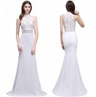 Wholesale Cheap Gorgeous Wedding Dresses - 2017 Gorgeous Boho Lace Backless Mermaid Wedding Dresses Elegant Sheer High Cheap Under $40 Bridal Gowns Robe de mariage CPS502