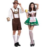 ingrosso costumi da birra-Plus Size di buona qualità Costumi Oktoberfest Birra bavarese tradizionale tedesca Maschera Cosplay Halloween Octoberfest Festival Abiti da festa