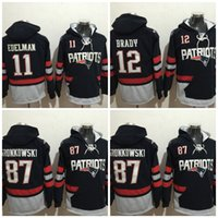 Wholesale Mens 87 - 2017 Mens' Patriotz Hockey Hoodies #11 EDELMAN #12 BRADY #87 GRONKOWSKI Hoodie Jerseys Stiched Hoody Hooded Accept Mix order