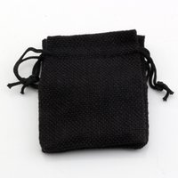 Wholesale linen jute drawstring for sale - Group buy Hot x14cm Black Linen Fabric Drawstring bags Candy Jewelry Gift Pouches Burlap Gift Jute bags