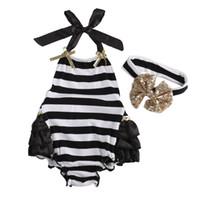 vender cintas para el bebé al por mayor-Al por mayor-Venta caliente 2016 Summer Toddler Baby Girl Outfits Ropa de una sola pieza Stripe Girls Bodysuit + Arco Diadema Niños Niñas Conjunto Traje