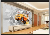 De gama alta personalizado 3d murales de pared wallpaper 3D Mural llama coche sala de estar telón de fondo pintura decorativa pared sala de estar wallpaper decoración
