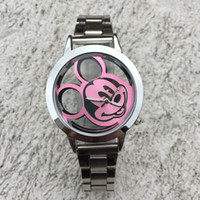 Wholesale Cute Women Nudes - Fashion Cute Women Girl Hollow Out Minnie Mouse Style Dial steel metal band Quartz Wrist Watch