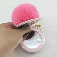 Wholesale Car Mirror Charms - Cute Rabbit Fur Ball Keychain PU Leather Mirror Key Chains Women Handbag Bag Charm Key Ring Lovely Car Key Pom Gift