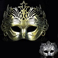 Wholesale Roman Supplies - 15*24.5Cm Masquerade Costume Party Halloween Party Supplies Ancient Roman Gladiator Face Mask Crown Masks Wholesale Mixed Color