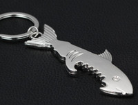 Wholesale Shaped Beer Bottle Opener - Shark Shaped Bottle Opener Keychain shaped zinc alloy Silver Color Key Ring Beer Bottle Opener Unique Creative Gift