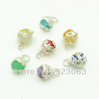 Wholesale Necklace Romper - beaded romper Wholesale 50pcs Mixed Colors Ball Metal Surround Charms Pendant Beads For Making Bracelet Necklace Jewelry Accessories 16x12mm