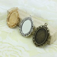 Wholesale Cameo Frame Oval - Sweet Bell Free Shipping Min order 20pcs Three Colors Tone Oval filigree Frame Cameo Settings 30*40mm (Fit 18*25mm) D0438