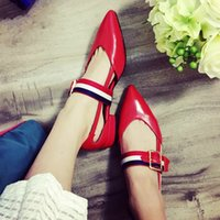Wholesale Pointed Shoes Flat Bottoms - Spring New Hollow Leather Womens Single Shoes Leather Pointed Head Shallow Female Flat Bottom with Buckle Decoration