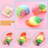 Wholesale New Rainbow Rose - 2017 New Kawaii Jumbo Rainbow Conch Squishy Slow Rising Colorful Shell Soft Squeeze Cream Scented Bread Cake Strap Kid Fun Toy Gift