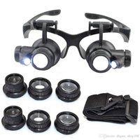 Wholesale Eye Glass Repairs - Hot 10X 15X 20X 25X magnifying Glass Double LED Lights Eye Glasses Lens Magnifier Loupe Jeweler Watch Repair Tools
