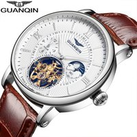 Wholesale Guanqin Watches - Wholesale-Relogio Masculino GUANQIN Mens Watch Top Brand Luxury  Automatic Mechanical Watch Men gold Skeleton Wristwatch 16036 A
