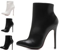 Femmes Sexy Pas Cher-Luxe Noir Blanc Cuir Pointe Toes Bottes Femmes Bottes Femmes, 120mm Mode Designer Sexy Ladies Rouge Bottom Talons hauts Chaussures Pompes
