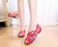 Wholesale Dancing Ballerina Shoes - Vintage Canvas Flats Shoes Phoenix Embroidered Shoes Comfortable Beijing Style Dance Ballerina Singles Ballet Flats