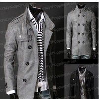 Wholesale Trench Coats Free Shipping Men - Free Shipping Black Grey Men's Wool Coat Double Breasted Shoulder Epaulets Long Trench Coats Dropshi Free Shipping