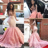 Wholesale Girls Floral Lace Shirt - 2k17 New Black Girls Illusion Long Sleeves Mermaid Prom Dresses 2017 Beaded 3D Floral Backless Floor Length Formal Party Evening Gowns