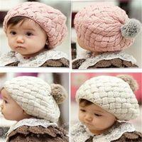 Wholesale Toddler Crochet Hat Cute Free - Toddler Knit Hat Kids Girls Baby Handmade Crochet Knitting Beret Hat Beanie Baby Fashion Cute Cap Kids Warm Beanie DHL Free
