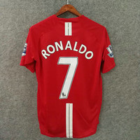 Wholesale Soccer Clothing Red - Classic retro soccer jerseys 2007 Utd football shirts top quality soccer clothing custom name number ronaldo 7 rooney 10