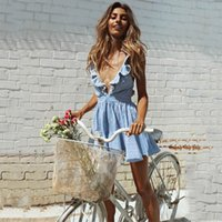New Fashion Sexy Mini Short Light Blue Mulheres Vestidos Casual 2018 Deep V-neck Criss-cross Backless Striped Summer Clothes FS1973