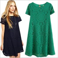 Wholesale Large Kimono - Sleeved Lace Dress Summer spot large size women loose short and new A word bottoming skirts ouc242
