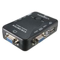ratón auto teclado al por mayor-Envío gratuito Controlador automático 2 puertos Hub USB 2.0 KVM SVGA VGA Caja de interruptores Monitor Teclado Ratón Adaptador de impresora Adaptador de conexión