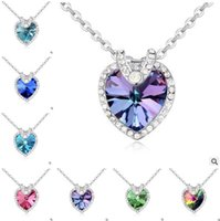 Wholesale Cheap Heart Shaped Necklaces - Necklace Women 2017 Fashion Crystal Heart-shaped Necklaces Female Jewelry Cheap Necklace Pendants High Heart of Ocean Free Shipping