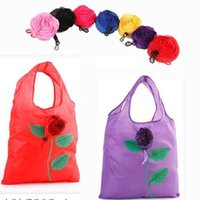 Wholesale Recycled Fashion Bags - Rose Foldable Shopping Bag Flowers Recycle Tote Bags Travel Grocery Bags Recycling Eco-friendly Shopping Bags OOA3029