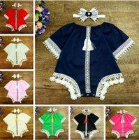 Wholesale Vintage Infant Romper - 8 styles INS New Arrivals Vintage style infant girl tassel romper summer 100% cotton half sleeve romper