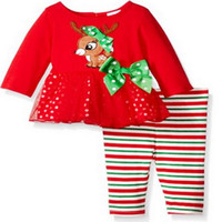 Wholesale Tight Cotton Red Dress - Christmas Girls Outfits Sets Cartoon Long Sleeve Bowknot Gauze Dress Deer Tops + Striped Pants Tights 2pcs Set Xmas Clothes Suits Red A7178