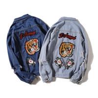 Wholesale Navy Blue Jeans Men - Men's Jeans Jacket Navy Blue Coat Tigers Embroidery Japanese Vintage Old Cave Denim Jacket Men & Women Wild Jacket Baseball Wear