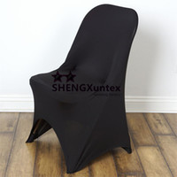 Wholesale Lycra Spandex Folding Chair Covers - Black Color Folding Lycra Spandex Chair Cover For Decoration
