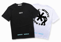 Wholesale Long Sleeve T Shirt Wool - New ow snowflake letter printing turntable logo OFF short sleeved T-shirt WHITE men and women cotton primer Shirt Tee