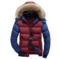 Wholesale yellow duck clothing for sale - Group buy Brand clothing fashion Thick Warm Winter Jacket XL for Men Waterproof Removable Fur Collar Parkas Hooded Coat XL RT63E