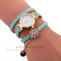 montre en cristal rhinestone en gros achat en gros de-100pcs / lot 9 Couleur Rhinestone Flower Strap Watch Tiny Black Ball Pendentif Bracelet Lady Wristwatch Wholesale