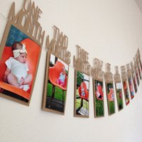 Wholesale Frames Banner - 2017 Kids Birthday Gift Decorations From 1 To 12 Month Photo Banner Monthly Photo Wall Photo Frame Porta Retrato Picture Frame