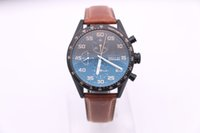 Wholesale Calibre 16 Sapphire - 2017 new TAG luxury brand CALIBRE 16, brown leather strap, black 45MM large dial, high-quality automatic movement, men's Sports Wristwatch