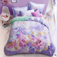 Wholesale King Size Animal Print Quilts - 3D Bedding Sets Queen Size Thick Tencel Flower Bedding Quilt Duvet Cover Set Sheet Pillow Cover 4pcs Bedding Set Top Quality Christmas Gifts